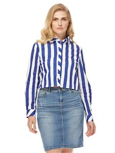 278054d5ab0df GLAMOROUS Women s Blue And White Striped Cropped Shirt