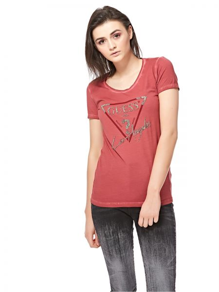 d89318a2ffe5 Guess Red Round Neck T-Shirt For Women Price in Saudi Arabia | Souq ...