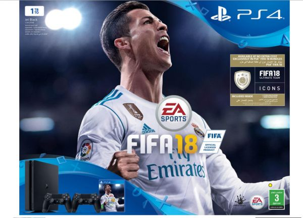 Sony PlayStation 4 Slim 1TB Gaming Console + Dualshock 4 Controller + FIFA 18 Game