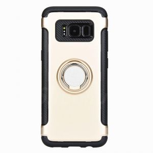 Samsung Galaxy S8 Plus Case TPU PC Hard Back Cover Dual Layer Rugged Shockproof Shell Phone Cases with 360 Degree Rotating Ring Grip Kickstand Gold