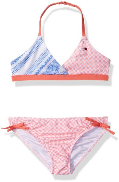 737d75c4d8 Tommy Hilfiger Little Girls' Two-Piece Swimsuit, Candy Coral, 5 ...