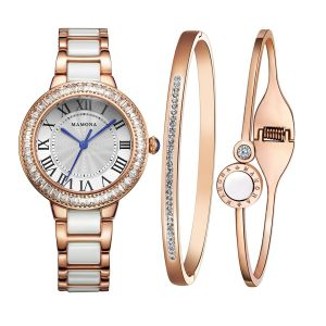84bfec35f3f8 MAMONA Women s Watch Bracelet Gift Set Crystal Accented Ceramic Stainless Steel  Rose Gold L68008RGGT