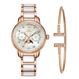 e5140707a4bf MAMONA Women s Rose Gold Chronograph Watch   Bracelet Set  StainlessSteel Ceramic with Calendar L58010RGGT
