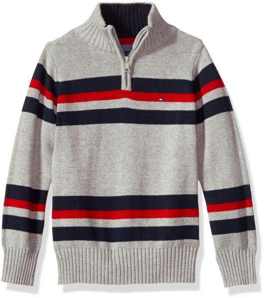 c2972c96 Tommy Hilfiger Boys' Half Zip Sweater, Leon Grey Heather, 3T | Souq ...