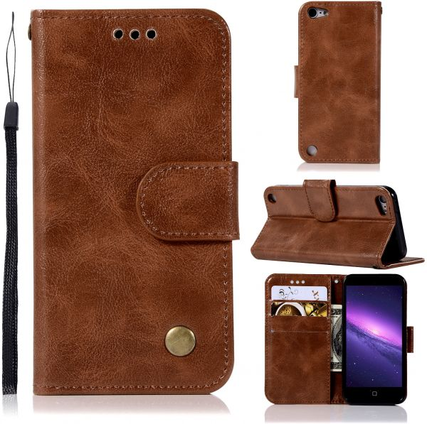 for Apple iPod touch 6 ‫(6th Generation) Leather Slim Wallet Case With Card Slots -Brown