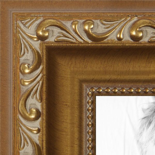 Picture Frame Antique Gold With Beaded Detailing 15 Wide 4 X 9