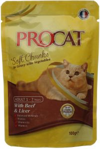 Soft Cat Food >> Procat Soft Chunks In Gravy With Beef And Liver Cat Food Pouch 100g