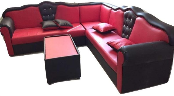 Arabic Majlis 7 Seater Sofa With 4 Cushions, rad/black- 250