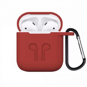 482f1efc316 AirPods Case Protective Silicone Cover with Carabiner for Apple Airpods  Accessories Red