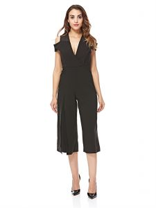 96142efc6f33 bYSI V Neck Cold Shoulder Slit Jumpsuit for Women - Black