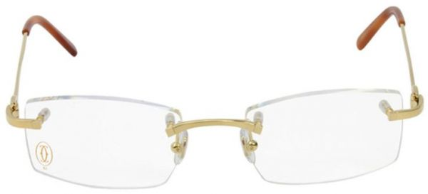 7190795bf1 Cartier Glasses Frame Rimless Unisex - Gold