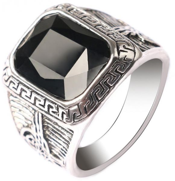 Black Stone Finger Ring Men And Women Silver Plated Fashion Vintage