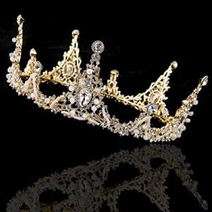 Yean Wedding Crown and Tiara Rhinestones Crystal Queen Princess Gold  Headband for Women and Girls 041c3e545