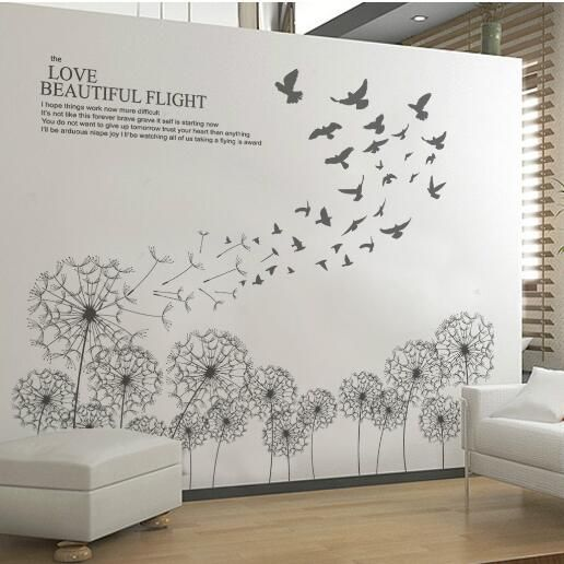 black floating dandelion butterflies wall sticker paper home decal