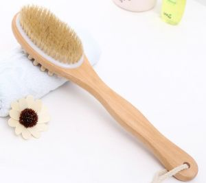 Natural Long Wood Wooden Body Brush Massager Bath Shower Back Spa Scrubber Double-sided Massage Bathroom Bath Brush