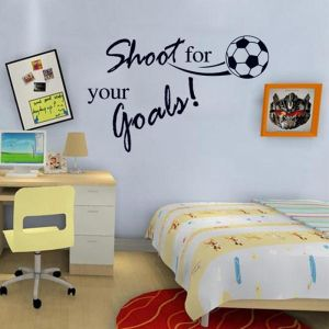 Flying Football Shoot For Your Goal Wall Sticker English Letters Home Decals Stickers For Kids Room Living Room Decor Mural Home Decor