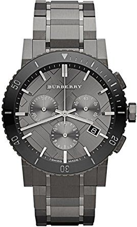 35d560ba049c2f Burberry Chronograph Gunmetal Dial Grey Ion-plated Stainless Steel Watch  for Men, BU9381