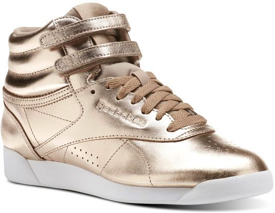Reebok F S Hi Metallic Walking Athletic Shoes For Women - Gold ... 9ae857327