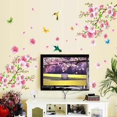 ab4945947 DIY PVC Spring Flowers Wall Stickers Home Living Room Sofa Background  Adhesive Decoration Green Tree Leaves Wall Papers Decals