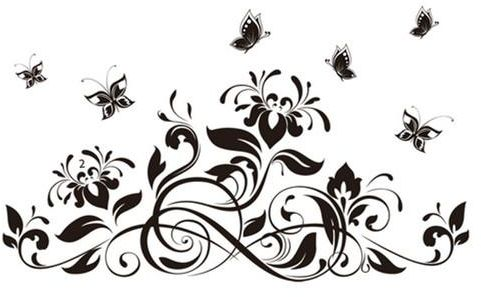 contemporary black flowers floral tribal butterflies wall stickers