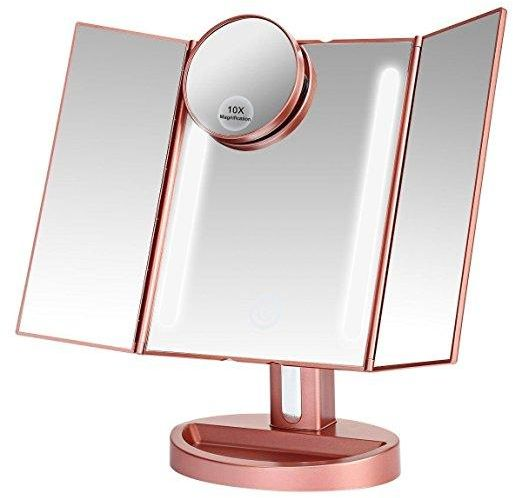 Lighted Makeup Mirror With 10x3x2x1x Magnification Trifold