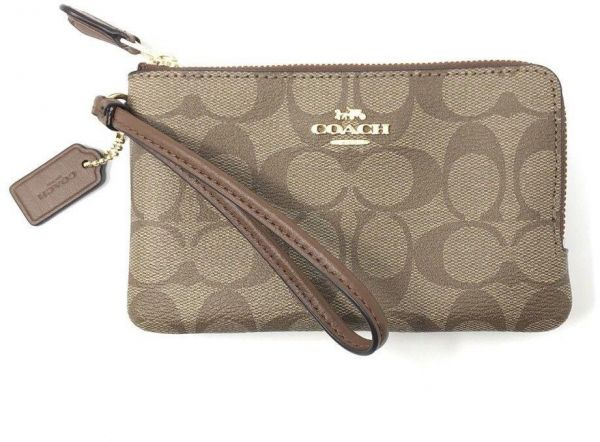 94035e106ef0 COACH F87591 IME74 Signature PVC Double Corner Zip Wristlet Wallet  IM Khaki Saddle