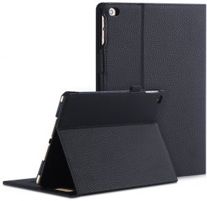 FYY iPad Air 2 Case - Premium PU Leather Case Smart Auto Wake/Sleep Cover with Hand Strap, Card Slots, Pocket for iPad Air 2 Black