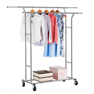 f9b1ee836 LANGRIA Double Rail Garment Racks Clothes Racks Commercial Grade Height  Adjustable Heavy Duty Clothing Racks for Boutiques