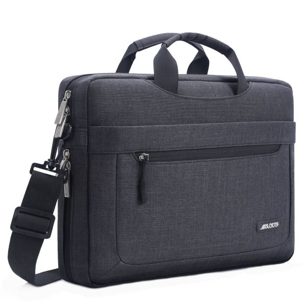 MOSISO Messenger Laptop Shoulder Bag for 15-15.6 Inch 2017/2016 new MacBook Pro, MacBook Pro, Notebook, Compatible with 14 Inch Ultrabook, Polyester Briefcase with Adjustable Depth at Bottom, Black