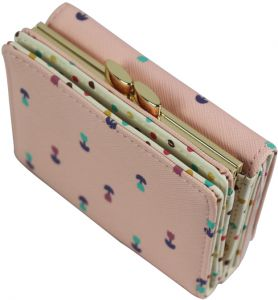 3 Fold Floral Wallet Women Girls Short Small Coin Purse Lovely PU Leather Girls Wallet Female Coin Wallets Card Holder, Pink-QB53-4