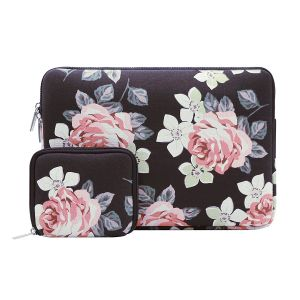 f90accbe4 MOSISO Laptop Sleeve Bag for 15-15.6 Inch MacBook Pro, Notebook Computer  with Small Case, Canvas Fabric Rose Pattern Protective Carrying Cover, Black