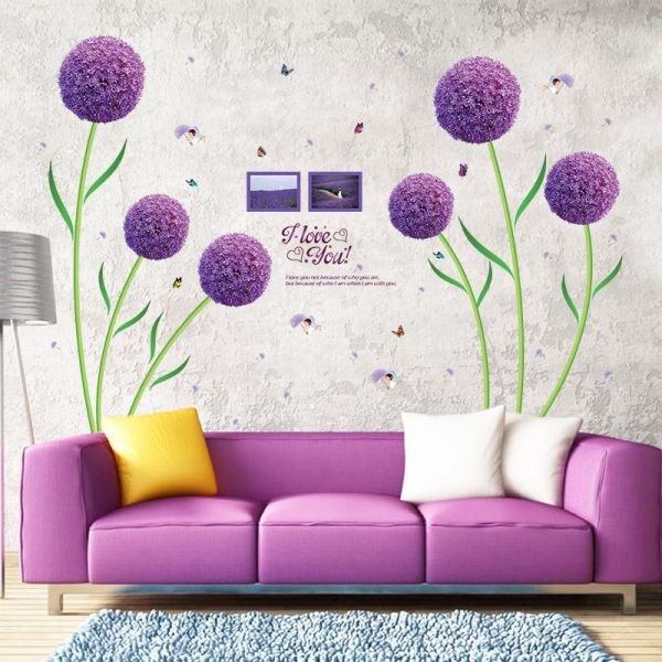 Purple Flower Diy Pvc Wall Stickers Home Living Room Sofa Background