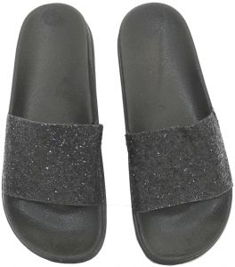 762ac036a Casual and comfortable slippers Indoor bathroom flip flop Sequins design  for unisex(black)