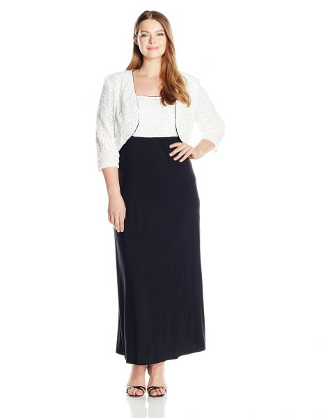 Buy Rm Richards Womens Plus Size Long Lace Jacket Dress With