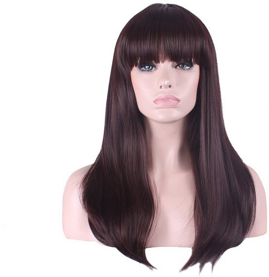 Souq Stylish High Quality Wine Red Hair Wig With Bangs For Women