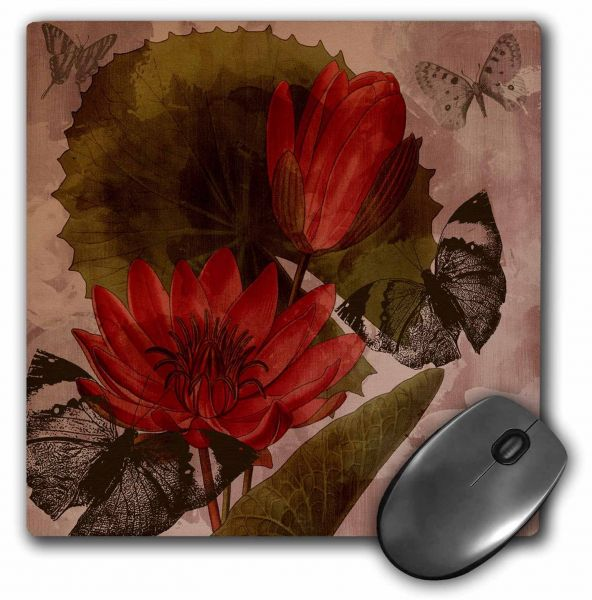 3dRose Vintage Flowers and Butterflies - Mouse Pad, 8 by 8 inches (mp_99178_1)