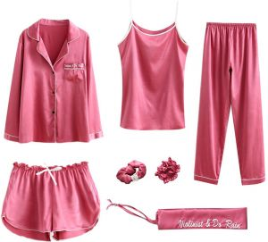 Women Pajama Sets 7pcs Hair Band and Hair Ties Short and Long Sets Sleepwear  Ladies Size XL fc862f142