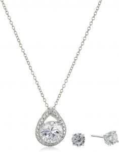 b778795fb Sterling Silver Cubic Zirconia Teardrop Pendant Necklace and Earrings Boxed Jewelry  Set, 18