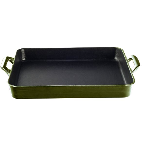 La Cuisine 3 Qt Enameled Shallow Cast Iron Roasting Pan