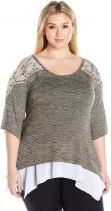 94aaa33675e OneWorld Women s Plus Size 3 4 Sleeve Knit Top With Lace Applique Cold  Shoulders and Chiffon Hem