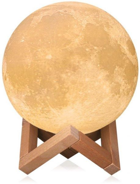 18cm Large Ramadan Moon Light, 3D Printing Moon Lamp with Touch Sensor Switch and Dimmable Brightness 2 Colors LED, USB Rechargeable