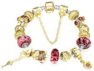 Gold Charm Bracelet for Women With Exquisite Murano Glass Beads Bangles-SL10