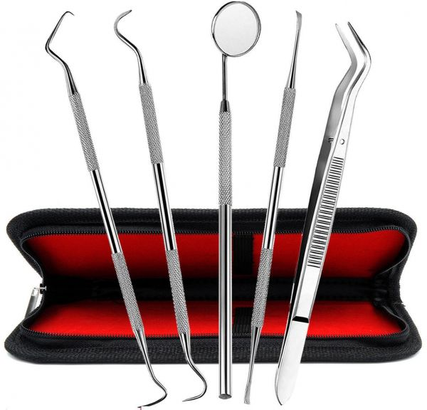 5 Set Of Stainless Steel Dentist Tools Hygiene Cleaning Tooth Dental Pick Kit