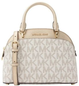 1b443101509f Michael Kors Emmy Small Cindy Dome Satchel Crossbody Vanilla Signature Mk  Gold Boss In The Mid Twent