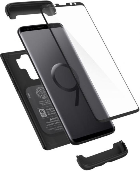 the latest cfff5 8ebef Spigen Thin Fit 360 Galaxy S9 Plus case with Exact Slim Full Protection  with Tempered Glass Screen Protector (Black)
