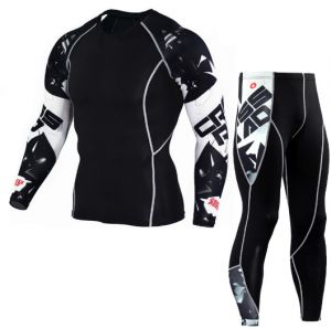33e497ca7c1a Letter printed Men cycling sport fitness tights long sleeve Quick Drying  elastic sportwear suit