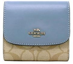 sports shoes a200b e4ae4 Coach F87589 SVB3K signature PVC Leather trifold small wallet - Light Khaki  / Pool