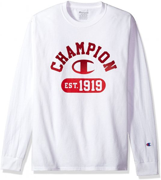 07ef2ae5 Champion Men's Classic Jersey Long Sleeve Graphic T-Shirt, Gym Fade  V2/White, Small
