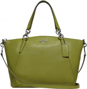 6d45c738448b COACH SMALL KELSEY SATCHEL WITH FLORAL BUD PRINT INTERIOR - OLIVE GREEN