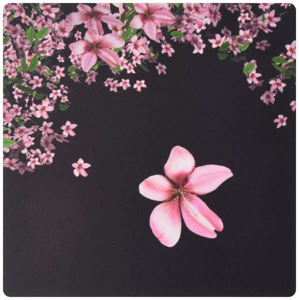 3dRose LLC 8 x 8 x 0.25 Inches Mouse Pad, Pink and White Cherry Blossoms on Black Background (mp_97837_1)